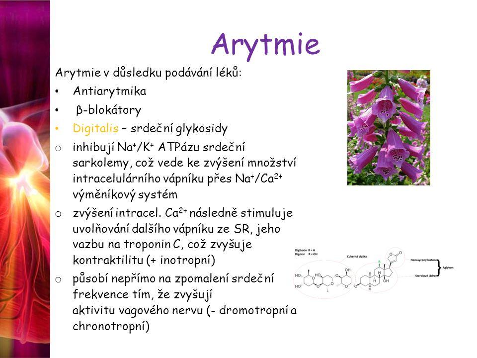 Arytmie Arytmie v důsledku podávání léků: Antiarytmika β-blokátory