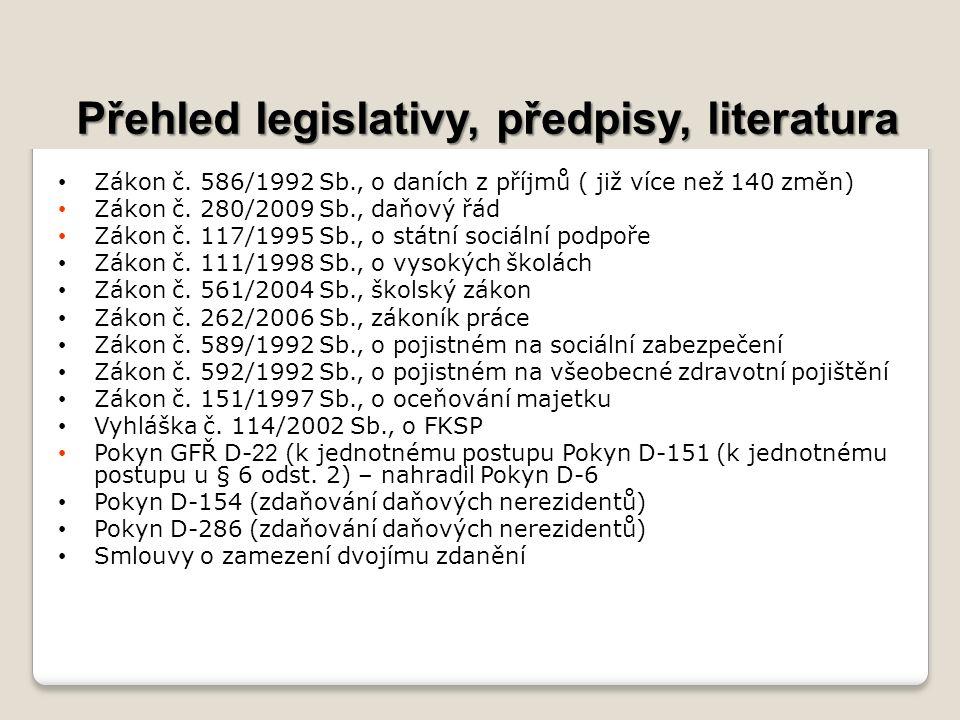 Přehled legislativy, předpisy, literatura