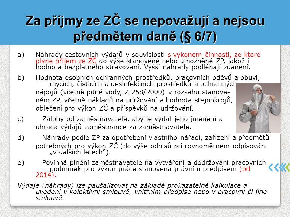 Za příjmy ze ZČ se nepovažují a nejsou předmětem daně (§ 6/7)