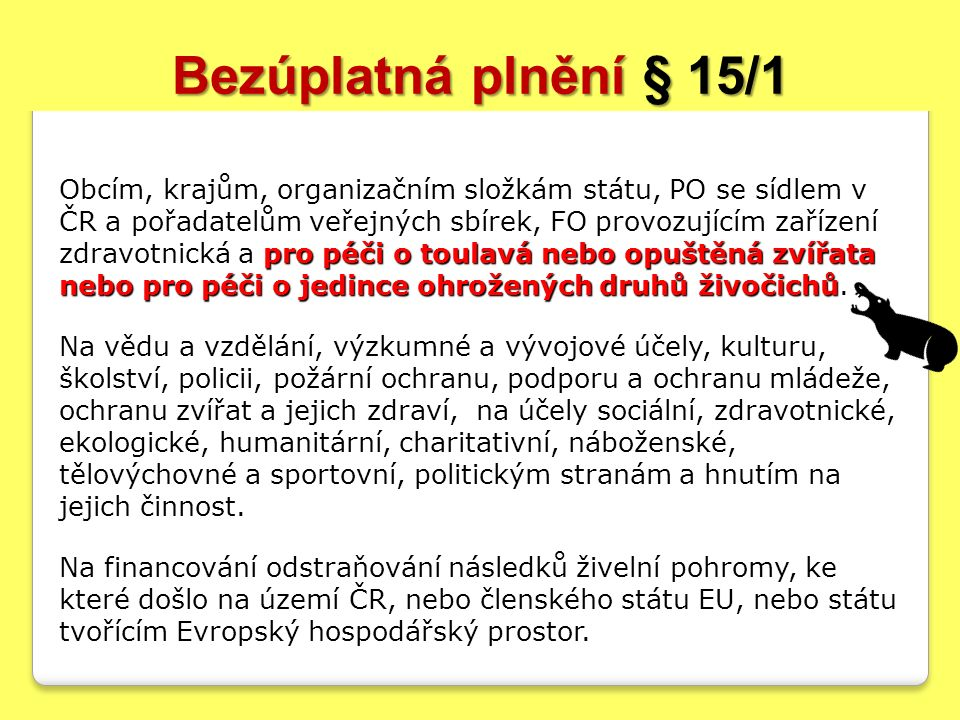 Bezúplatná plnění § 15/1