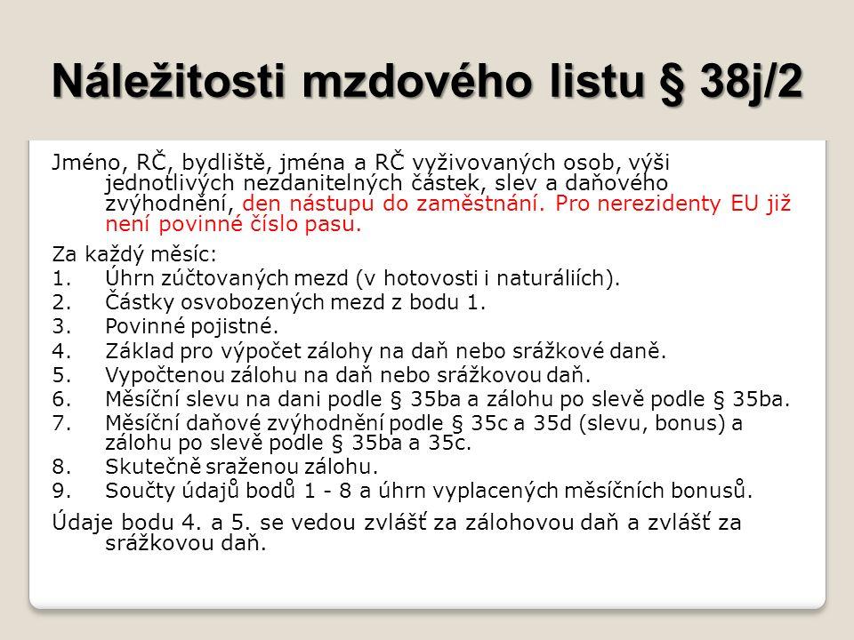 Náležitosti mzdového listu § 38j/2