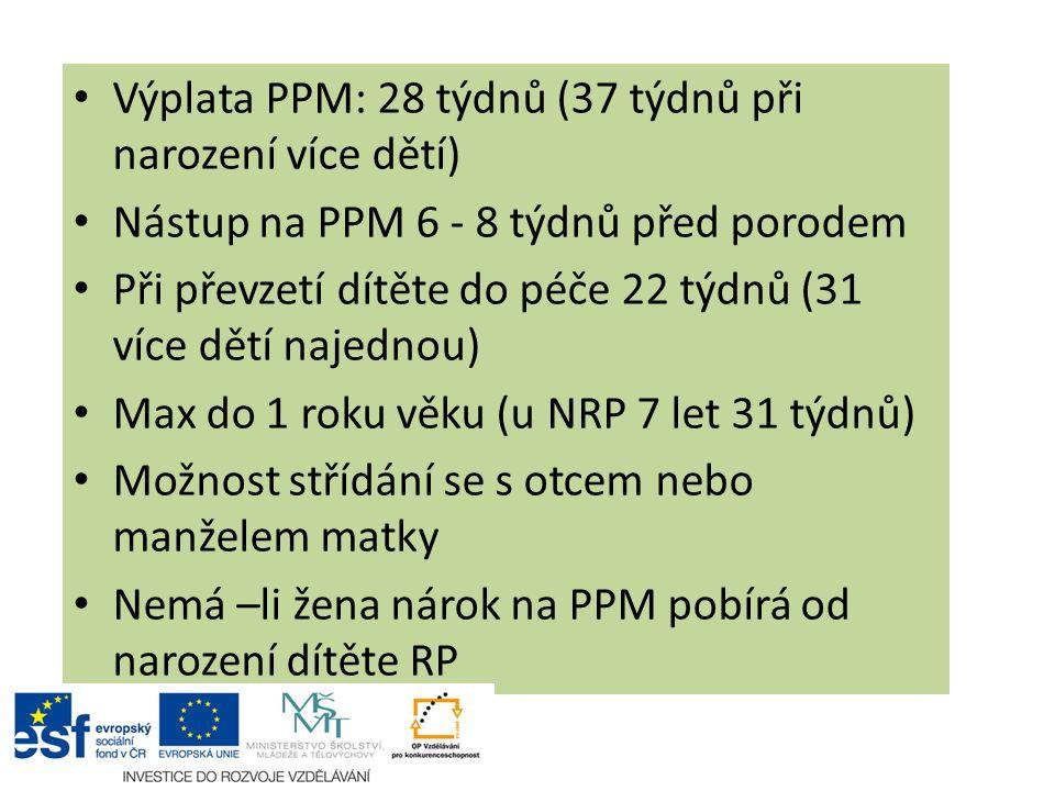 Výplata PPM: 28 týdnů (37 týdnů při narození více dětí)