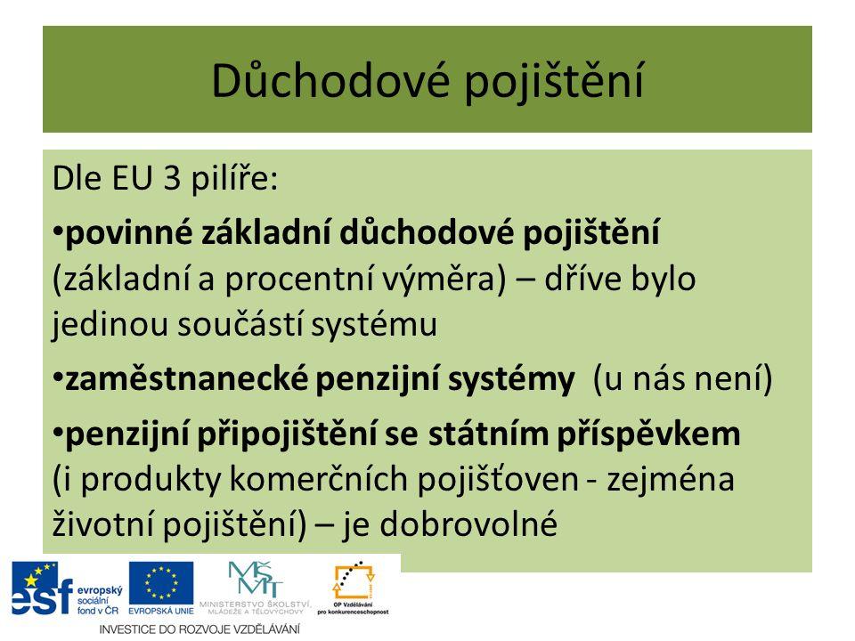 Důchodové pojištění Dle EU 3 pilíře: