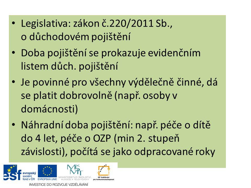Legislativa: zákon č.220/2011 Sb., o důchodovém pojištění