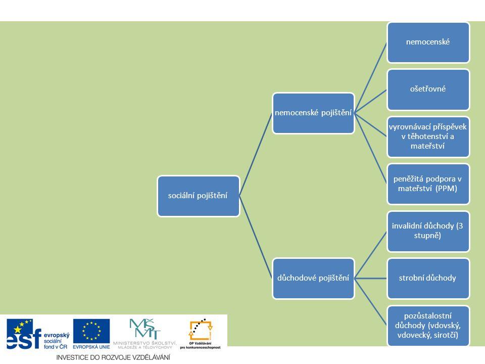 Užší pojetí 1. pilíře sociální pojištění nemocenské pojištění