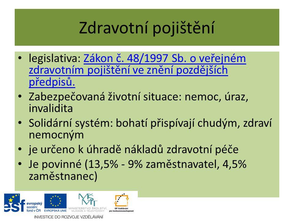 Zdravotní pojištění legislativa: Zákon č. 48/1997 Sb. o veřejném zdravotním pojištění ve znění pozdějších předpisů.