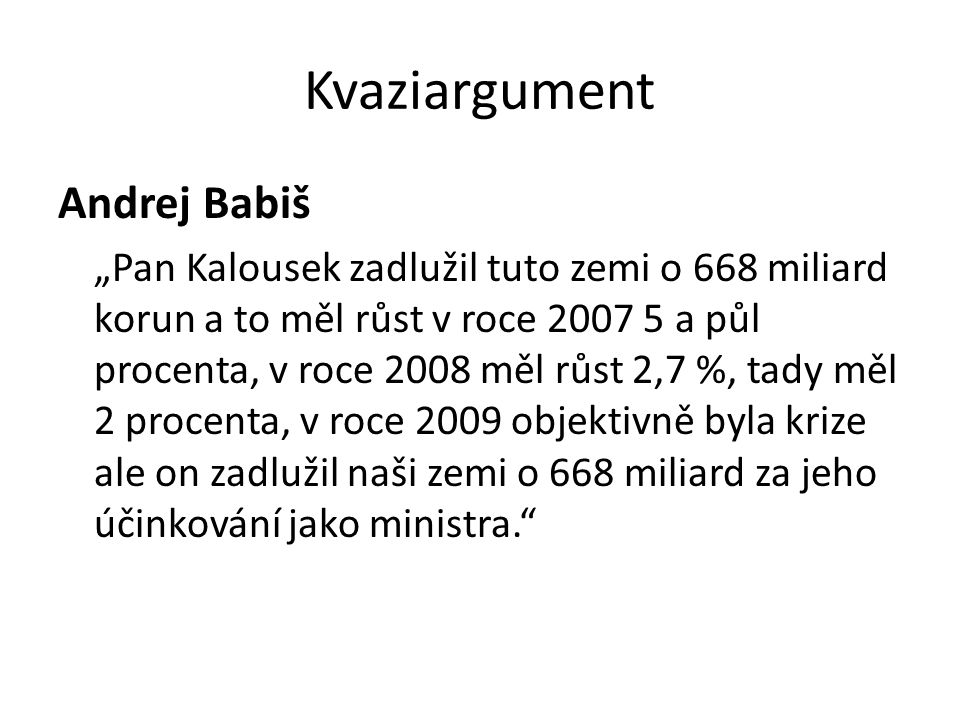 Kvaziargument Andrej Babiš