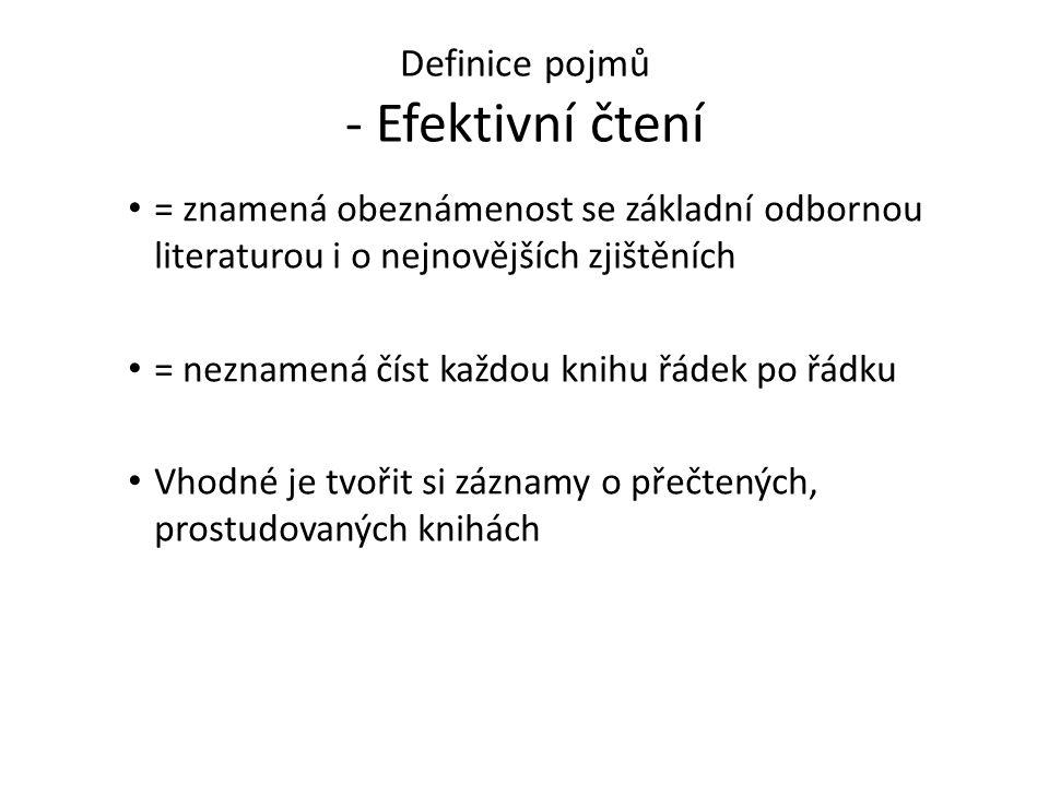 Definice pojmů - Efektivní čtení