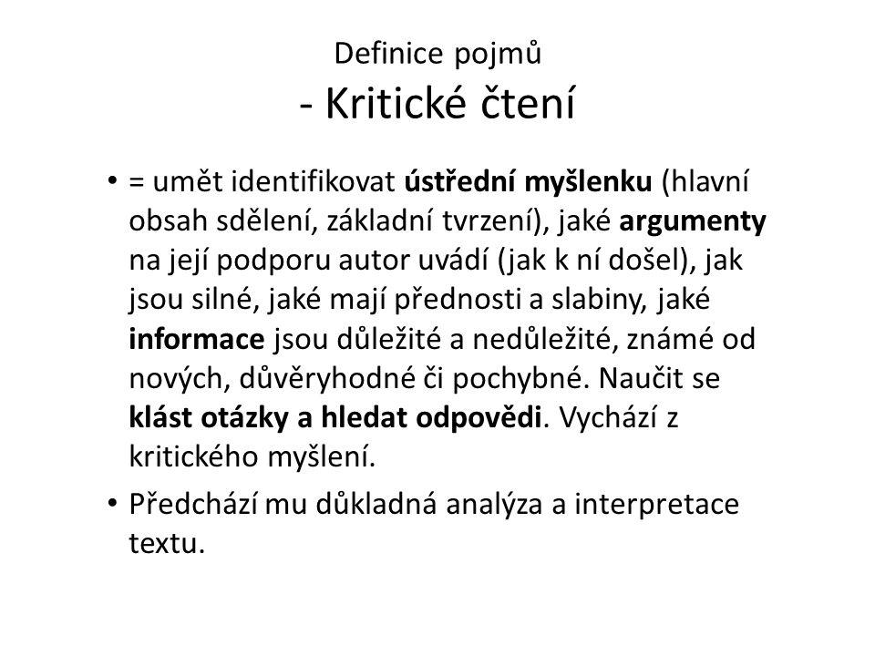 Definice pojmů - Kritické čtení