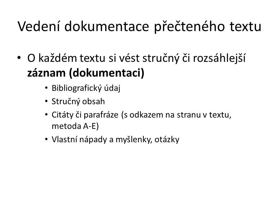 Vedení dokumentace přečteného textu