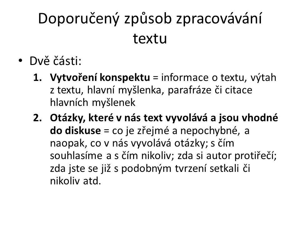 Doporučený způsob zpracovávání textu
