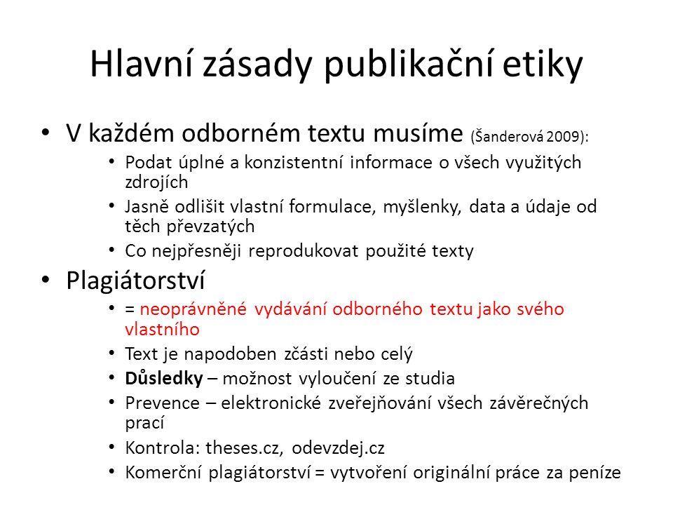 Hlavní zásady publikační etiky