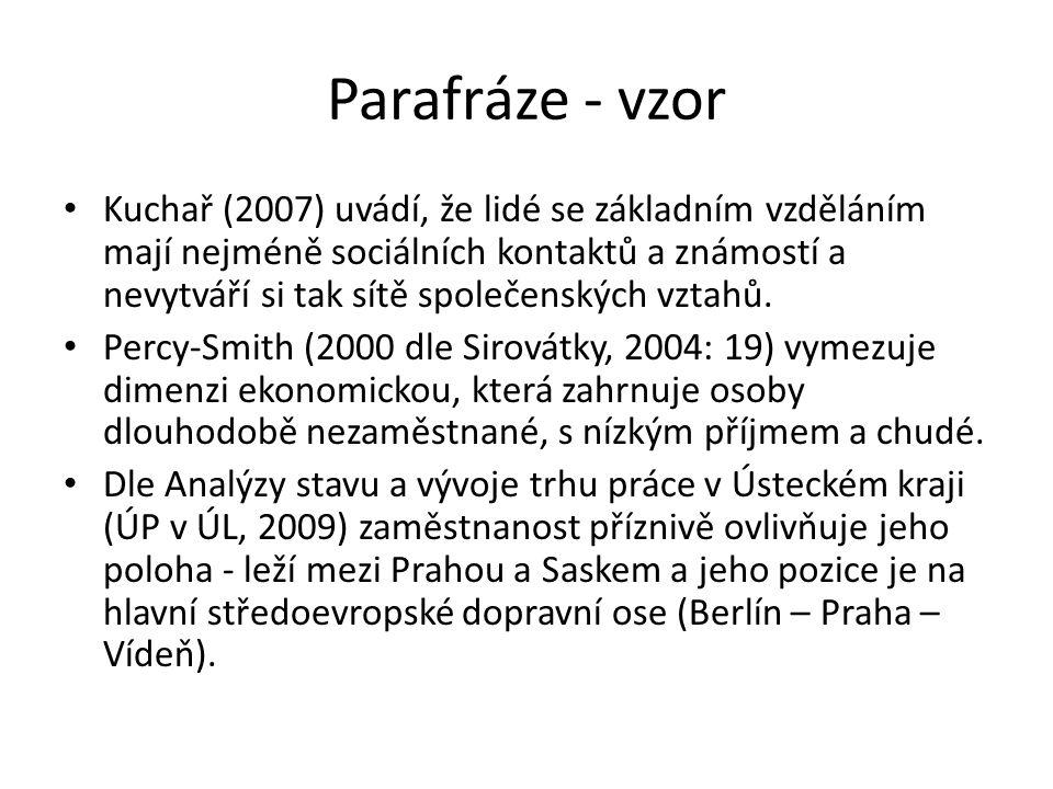 Parafráze - vzor