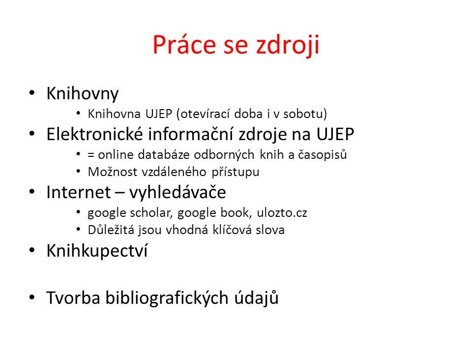 Práce se zdroji Knihovny Elektronické informační zdroje na UJEP