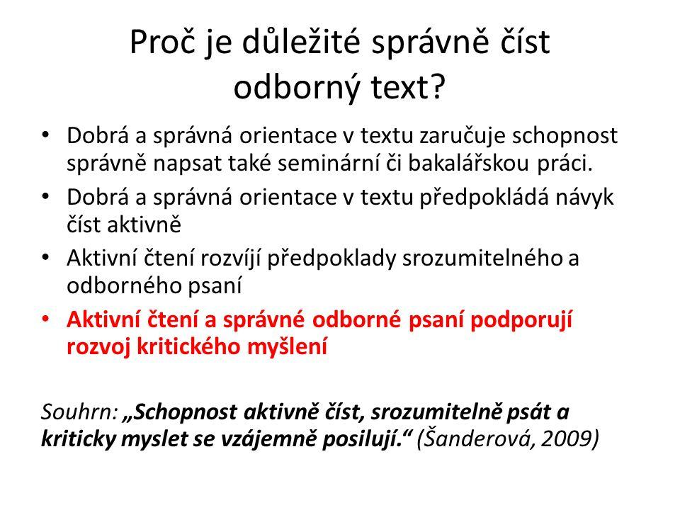Proč je důležité správně číst odborný text