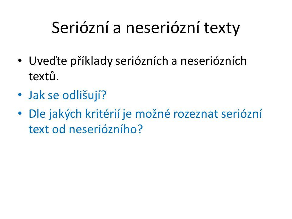 Seriózní a neseriózní texty