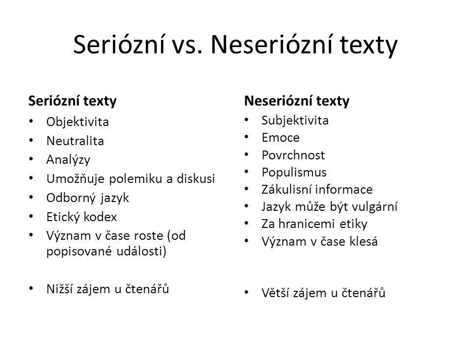 Seriózní vs. Neseriózní texty