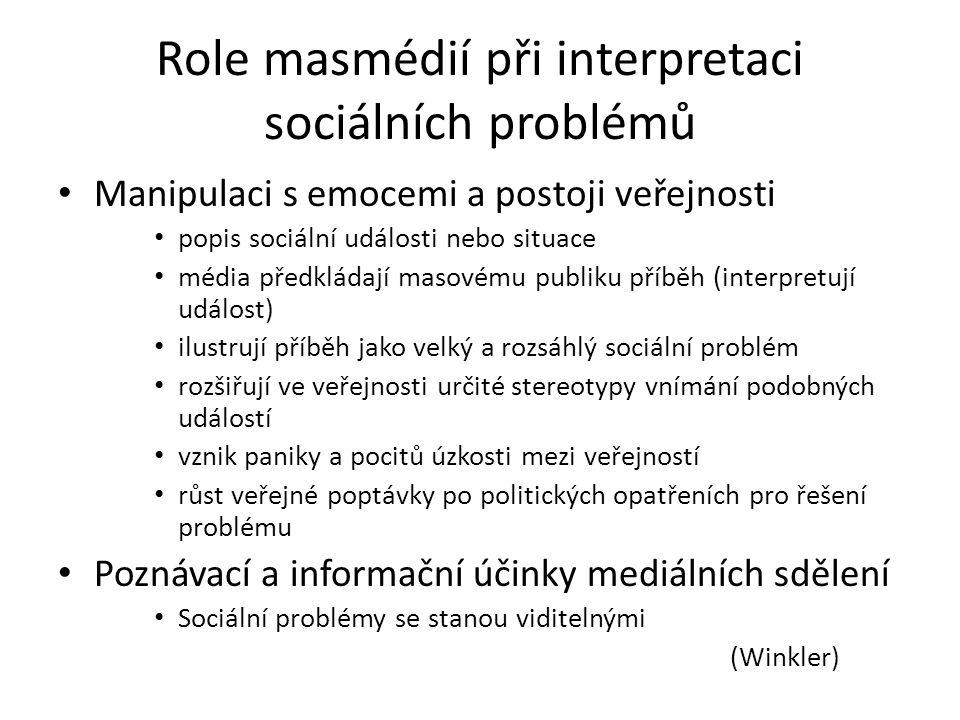 Role masmédií při interpretaci sociálních problémů