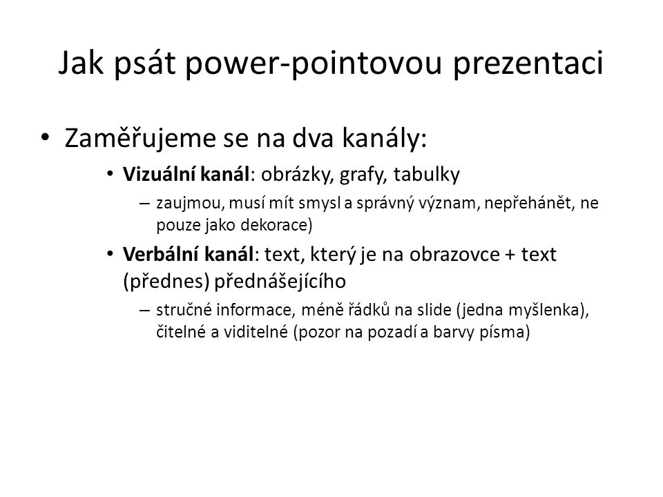 Jak psát power-pointovou prezentaci