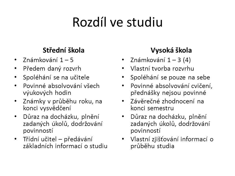 Rozdíl ve studiu Střední škola Vysoká škola Známkování 1 – 5