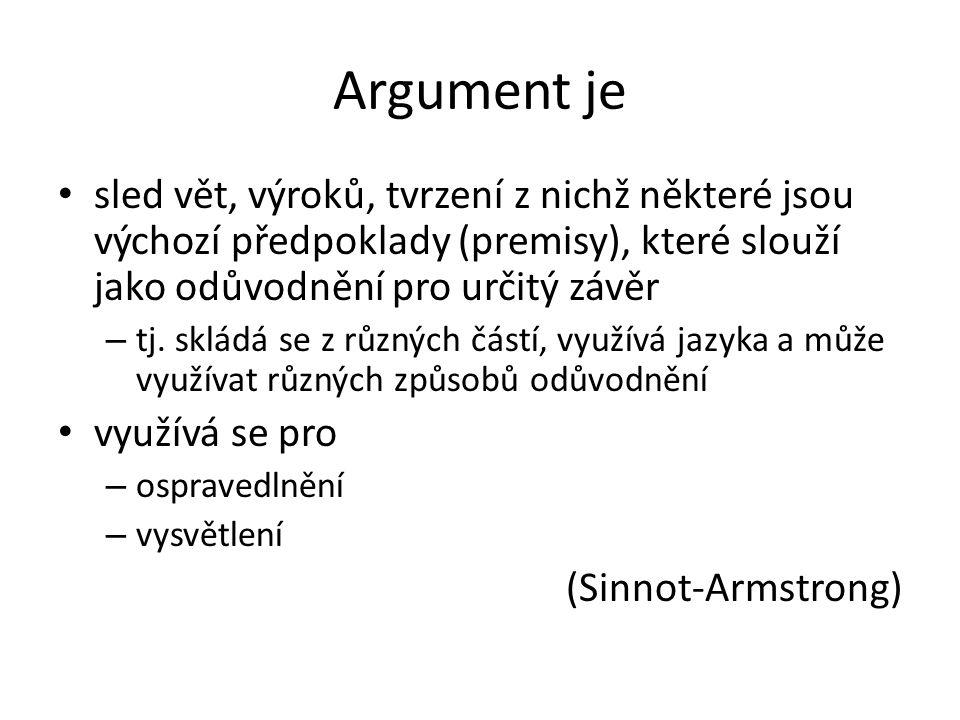 Argument je sled vět, výroků, tvrzení z nichž některé jsou výchozí předpoklady (premisy), které slouží jako odůvodnění pro určitý závěr.