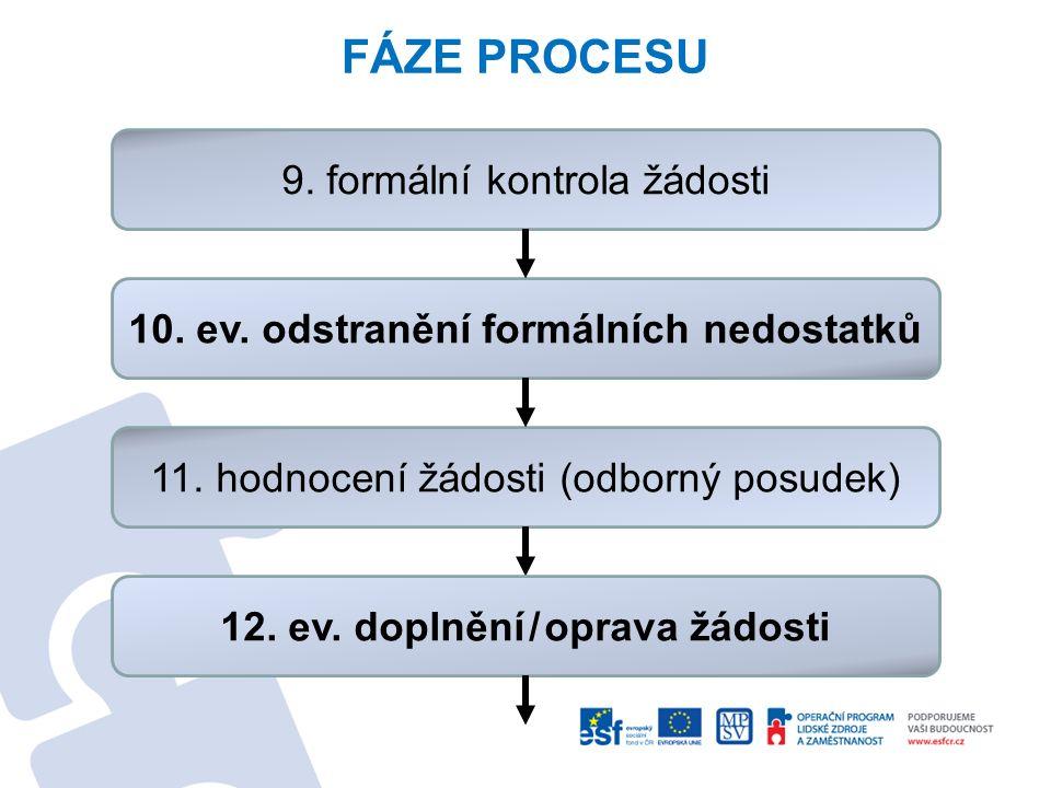 FÁZE PROCESU 9. formální kontrola žádosti