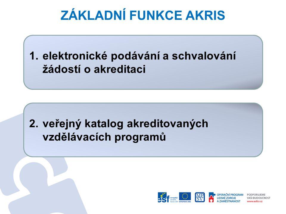 ZÁKLADNÍ FUNKCE AKRIS elektronické podávání a schvalování žádostí o akreditaci.