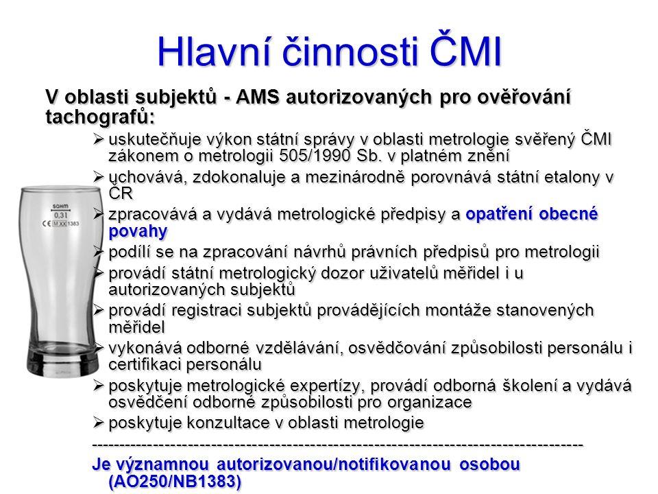Hlavní činnosti ČMI V oblasti subjektů - AMS autorizovaných pro ověřování tachografů: