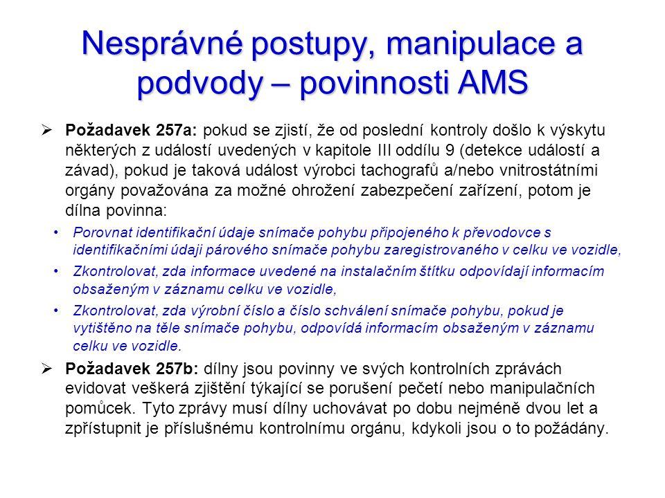 Nesprávné postupy, manipulace a podvody – povinnosti AMS
