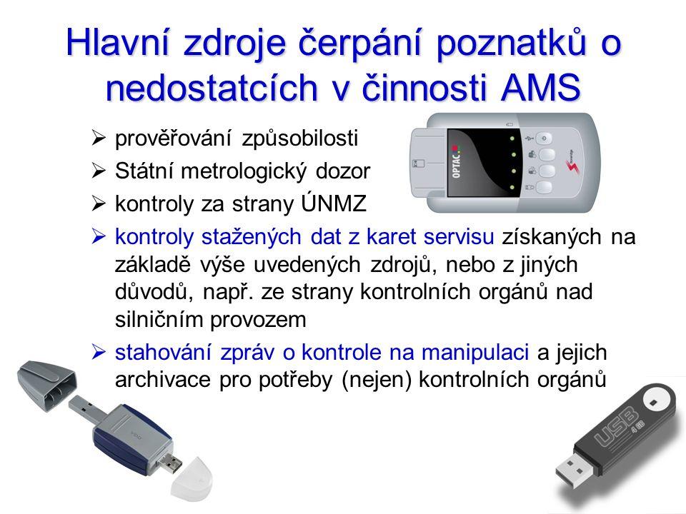 Hlavní zdroje čerpání poznatků o nedostatcích v činnosti AMS