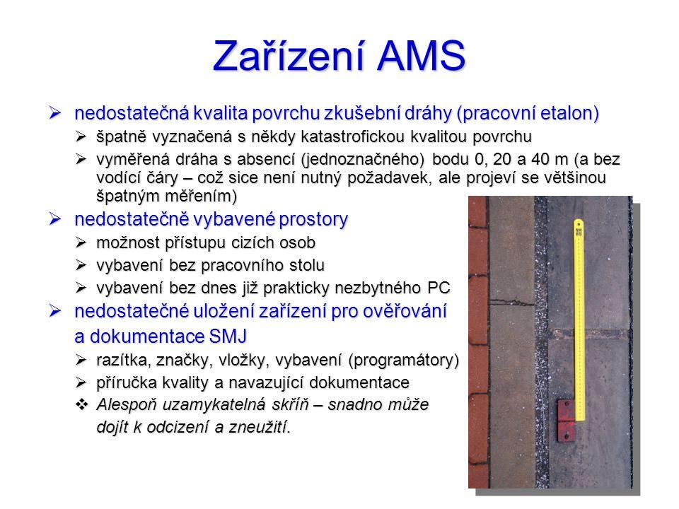Zařízení AMS nedostatečná kvalita povrchu zkušební dráhy (pracovní etalon) špatně vyznačená s někdy katastrofickou kvalitou povrchu.