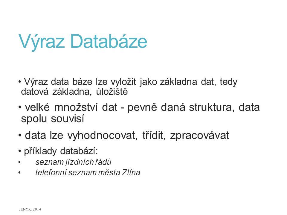 Výraz Databáze Výraz data báze lze vyložit jako základna dat, tedy datová základna, úložiště.
