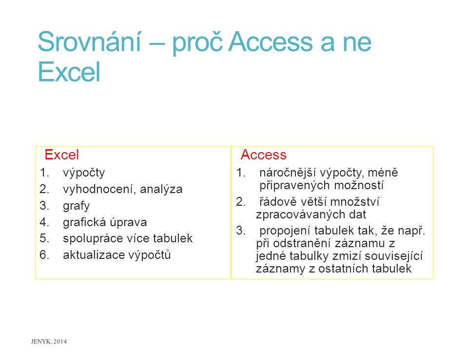 Srovnání – proč Access a ne Excel