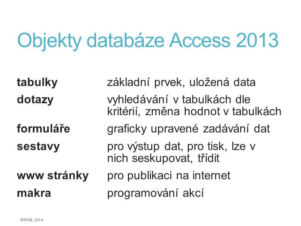 Objekty databáze Access 2013