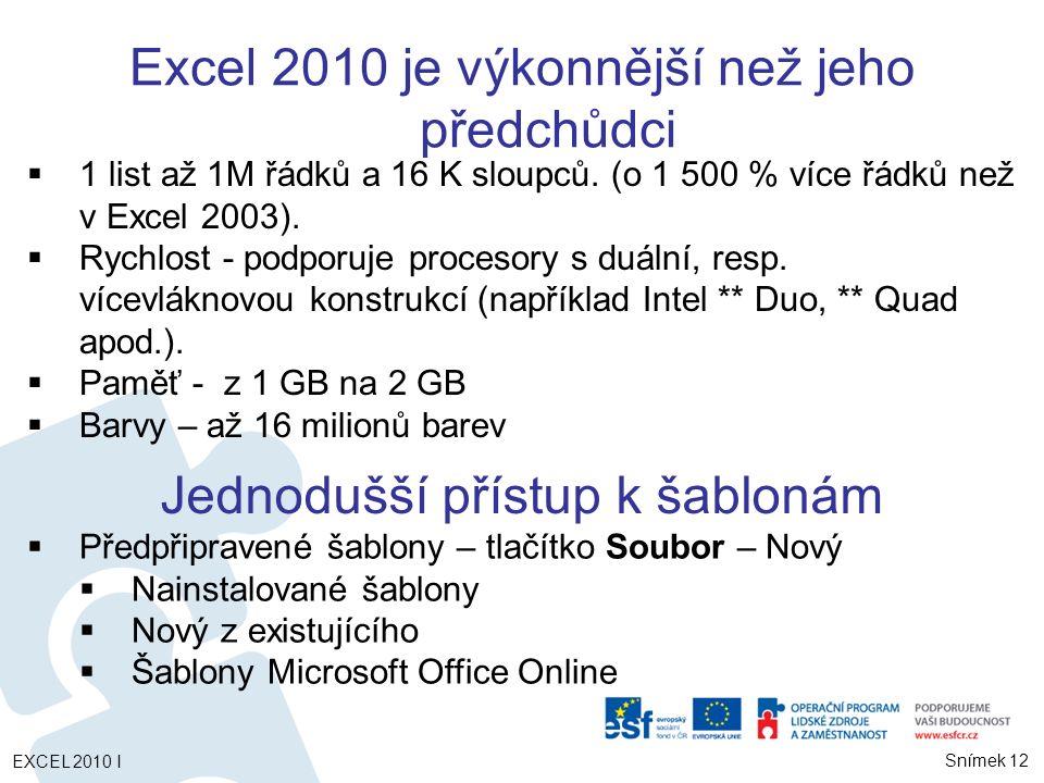Excel 2010 je výkonnější než jeho předchůdci
