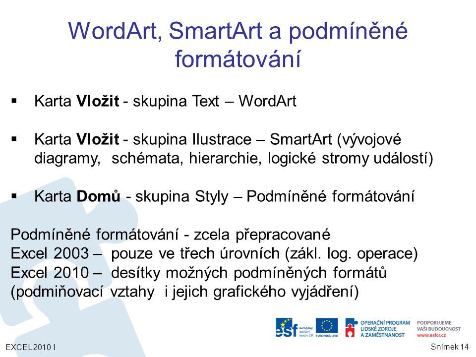 WordArt, SmartArt a podmíněné formátování