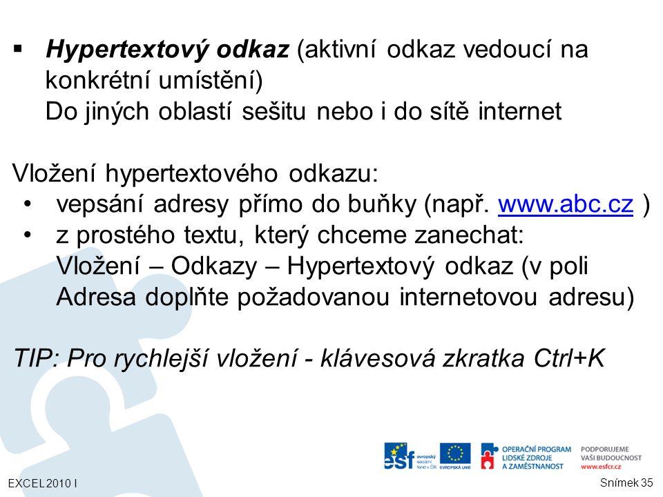 Hypertextový odkaz (aktivní odkaz vedoucí na konkrétní umístění)