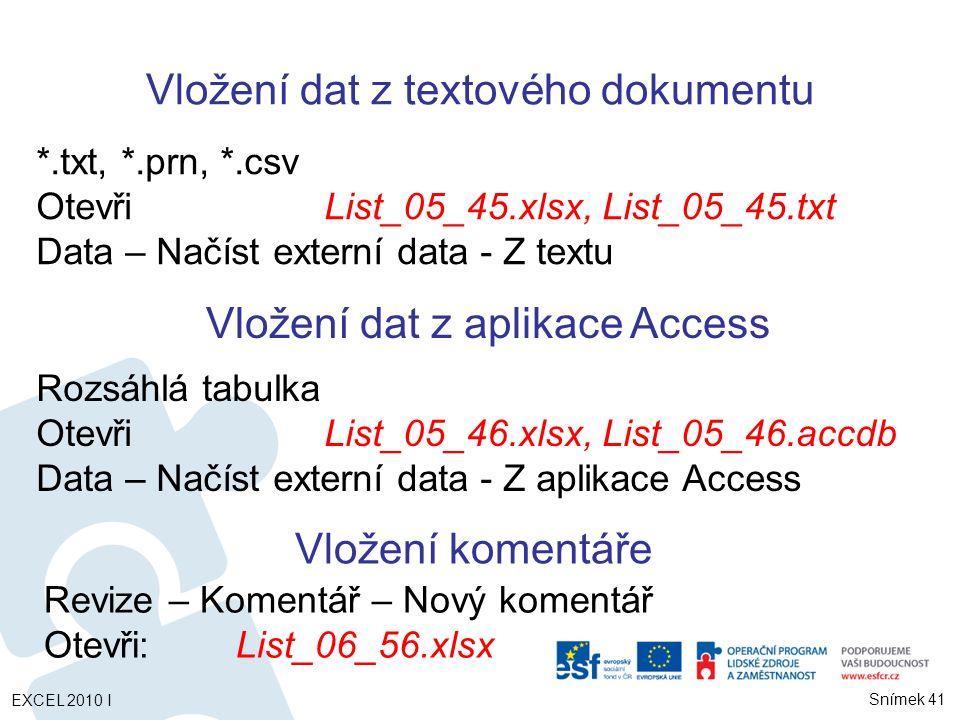 Vložení dat z textového dokumentu