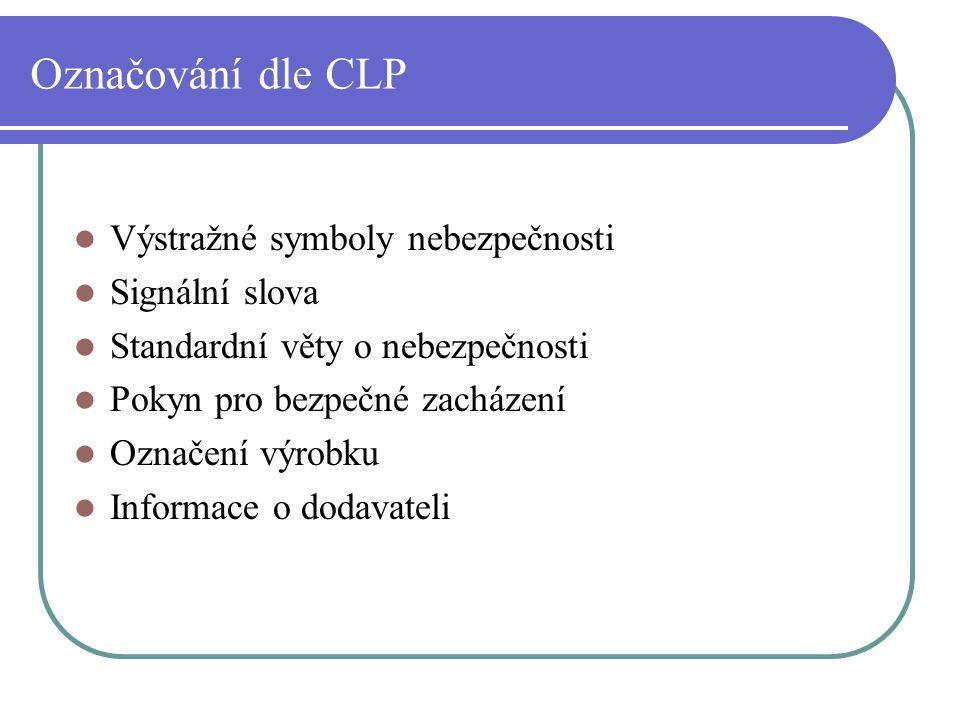 Označování dle CLP Výstražné symboly nebezpečnosti Signální slova