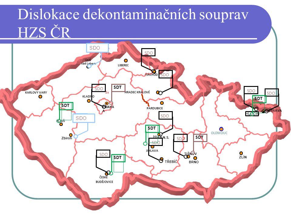 Dislokace dekontaminačních souprav HZS ČR