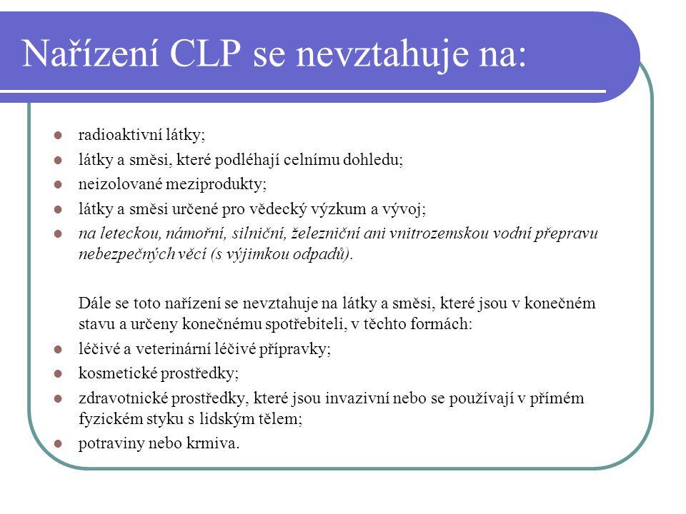Nařízení CLP se nevztahuje na: