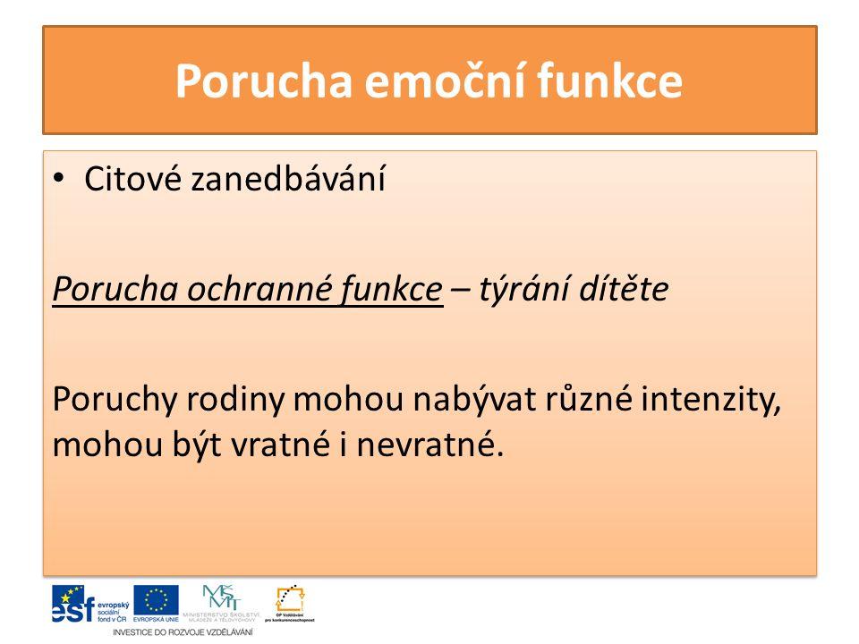 Porucha emoční funkce Citové zanedbávání