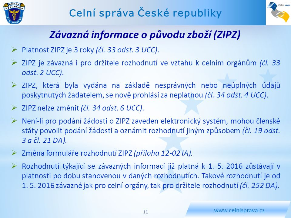 Závazná informace o původu zboží (ZIPZ)