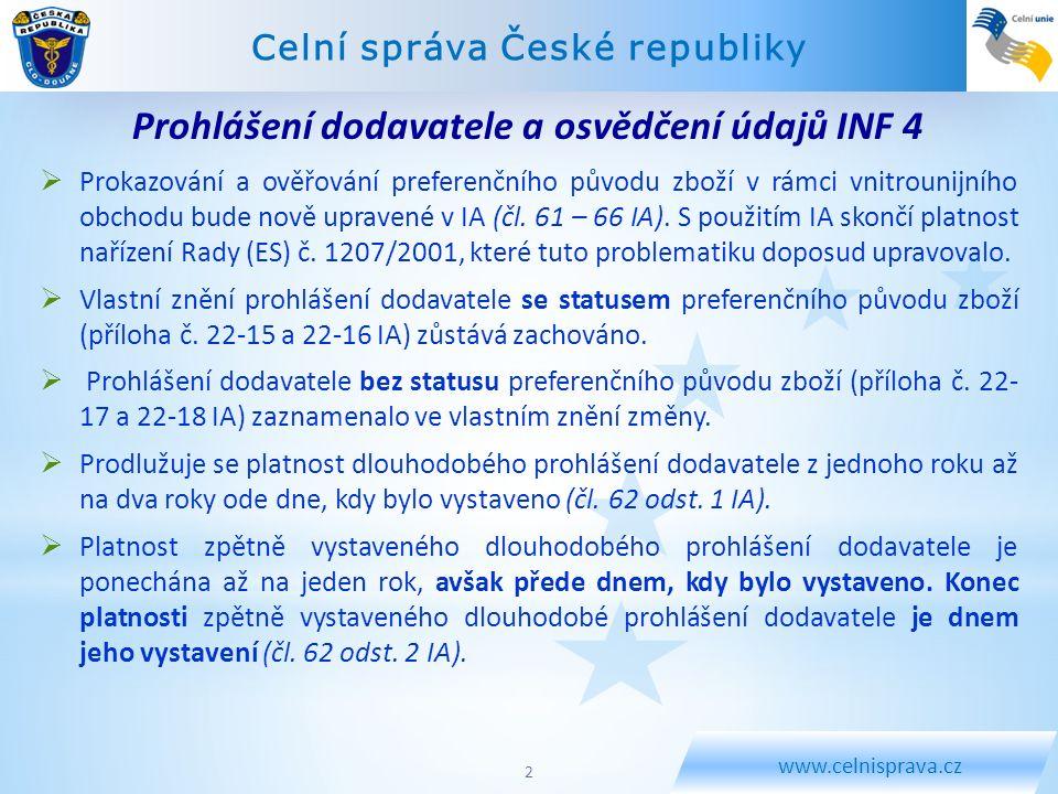 Prohlášení dodavatele a osvědčení údajů INF 4