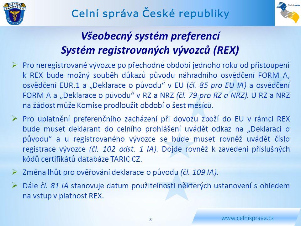 Všeobecný systém preferencí Systém registrovaných vývozců (REX)