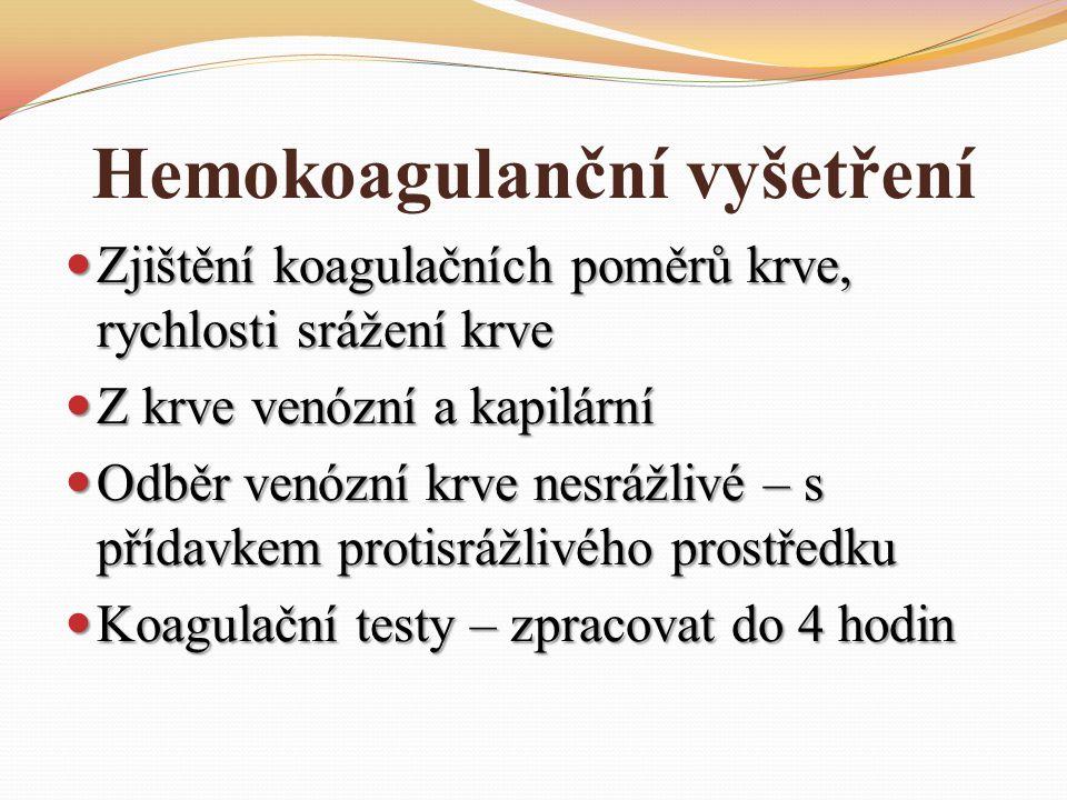 Hemokoagulanční vyšetření