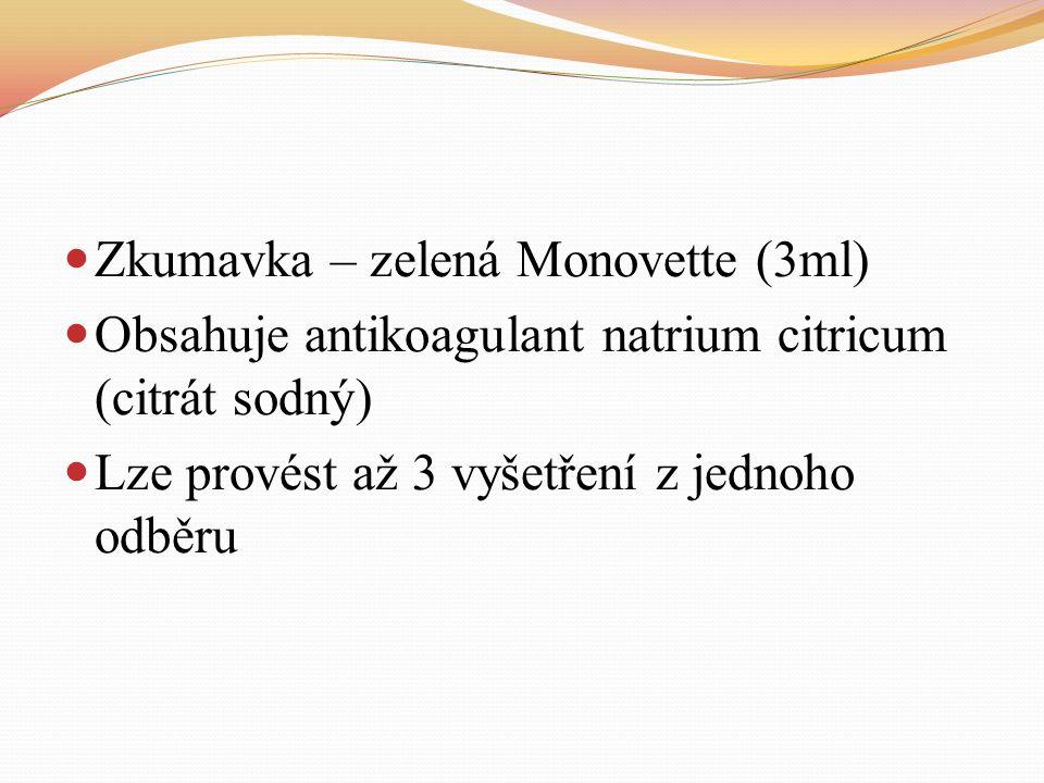 Zkumavka – zelená Monovette (3ml)