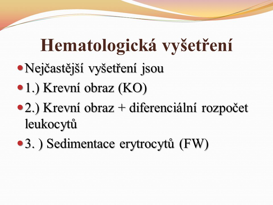 Hematologická vyšetření