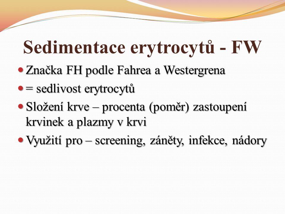 Sedimentace erytrocytů - FW