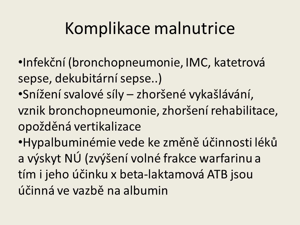Komplikace malnutrice
